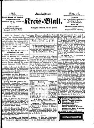 Frankensteiner Kreisblatt vom 25.02.1885