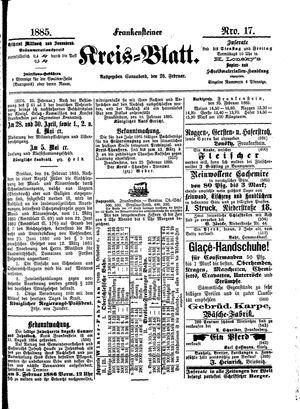 Frankensteiner Kreisblatt vom 28.02.1885
