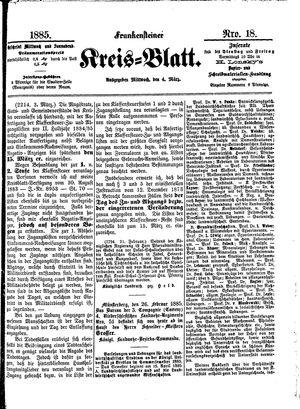 Frankensteiner Kreisblatt vom 04.03.1885