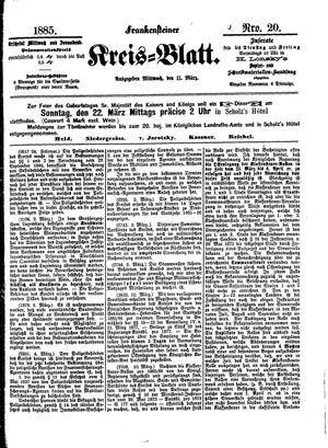 Frankensteiner Kreisblatt vom 11.03.1885