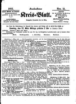 Frankensteiner Kreisblatt vom 14.03.1885