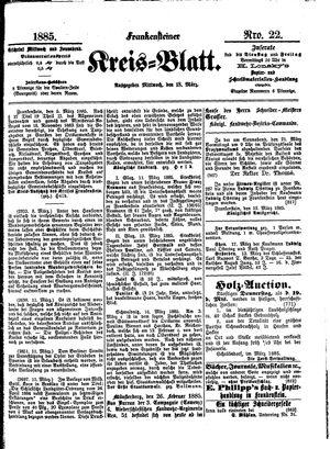 Frankensteiner Kreisblatt vom 18.03.1885