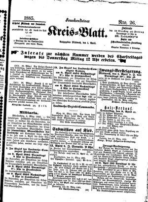 Frankensteiner Kreisblatt vom 01.04.1885