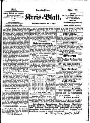 Frankensteiner Kreisblatt vom 11.04.1885