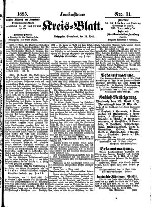 Frankensteiner Kreisblatt on Apr 18, 1885