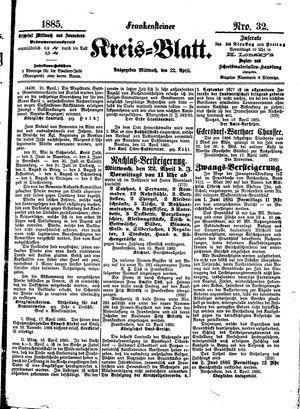Frankensteiner Kreisblatt vom 22.04.1885
