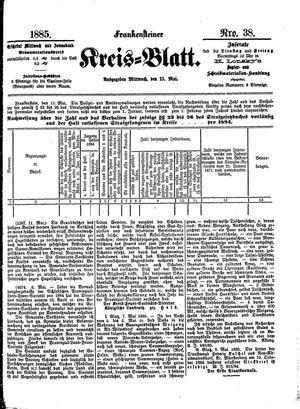 Frankensteiner Kreisblatt vom 13.05.1885