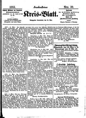 Frankensteiner Kreisblatt vom 16.05.1885