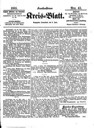 Frankensteiner Kreisblatt vom 06.06.1885