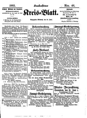 Frankensteiner Kreisblatt vom 10.06.1885