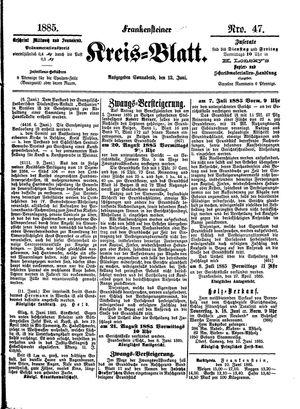 Frankensteiner Kreisblatt vom 13.06.1885