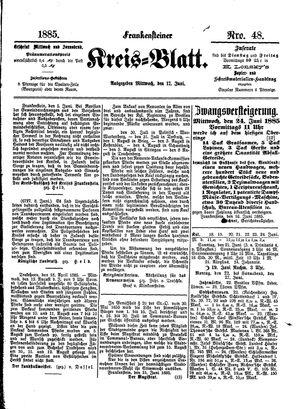 Frankensteiner Kreisblatt vom 17.06.1885