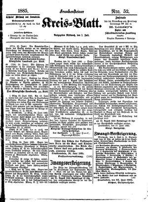 Frankensteiner Kreisblatt vom 01.07.1885