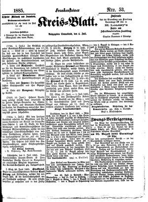 Frankensteiner Kreisblatt vom 04.07.1885