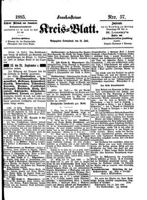 Frankensteiner Kreisblatt vom 18.07.1885