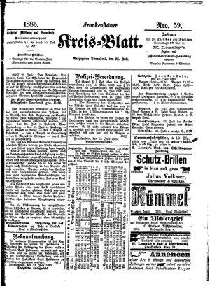 Frankensteiner Kreisblatt vom 25.07.1885