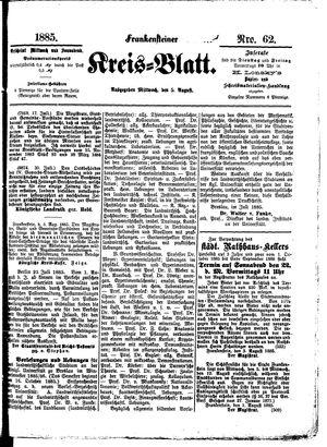 Frankensteiner Kreisblatt vom 05.08.1885