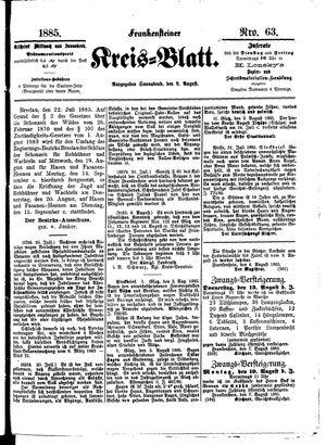 Frankensteiner Kreisblatt vom 08.08.1885