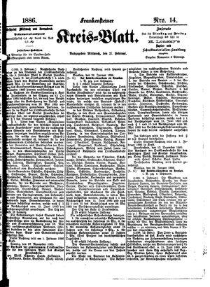 Frankensteiner Kreisblatt vom 17.02.1886