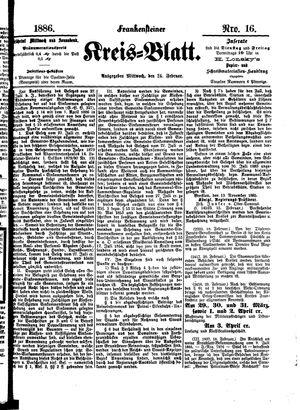 Frankensteiner Kreisblatt vom 24.02.1886