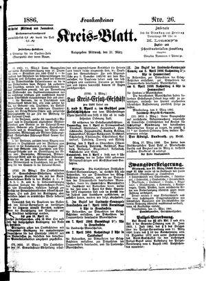 Frankensteiner Kreisblatt vom 31.03.1886