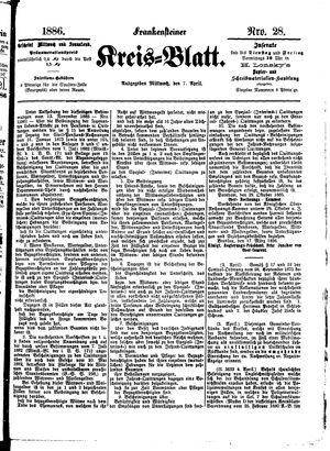Frankensteiner Kreisblatt vom 07.04.1886