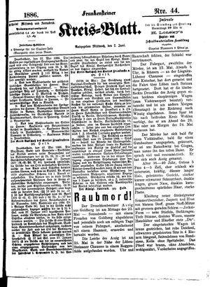 Frankensteiner Kreisblatt vom 02.06.1886