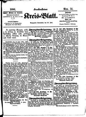 Frankensteiner Kreisblatt vom 26.06.1886