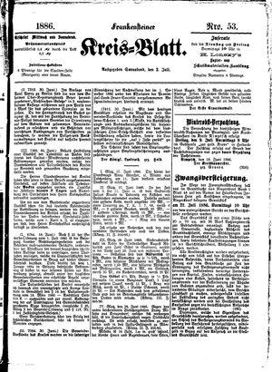Frankensteiner Kreisblatt vom 02.07.1886