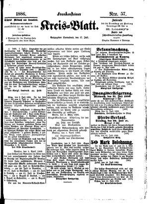 Frankensteiner Kreisblatt vom 17.07.1886
