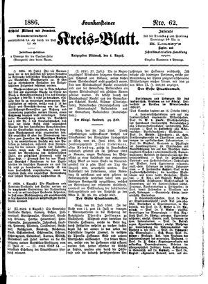 Frankensteiner Kreisblatt vom 04.08.1886