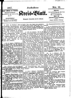 Frankensteiner Kreisblatt vom 12.02.1887