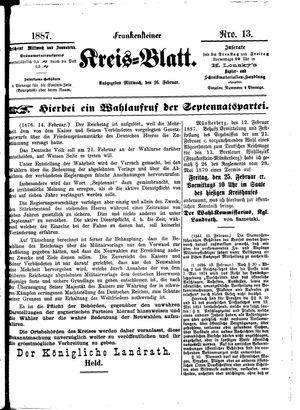 Frankensteiner Kreisblatt on Feb 16, 1887