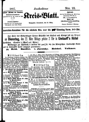 Frankensteiner Kreisblatt vom 19.03.1887