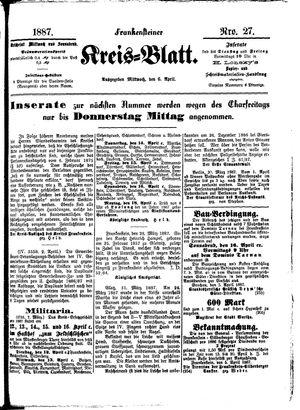 Frankensteiner Kreisblatt vom 06.04.1887