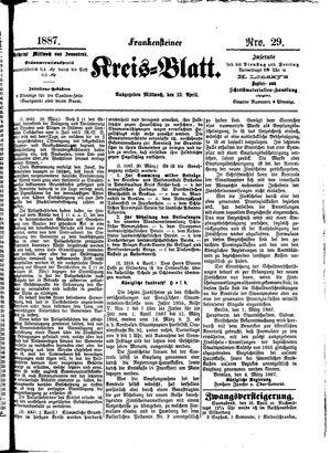 Frankensteiner Kreisblatt vom 13.04.1887