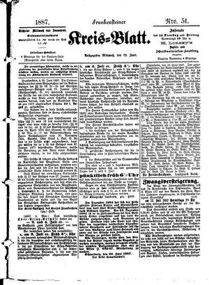 Frankensteiner Kreisblatt vom 29.06.1887