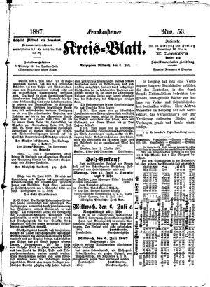 Frankensteiner Kreisblatt vom 06.07.1887