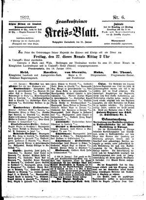 Frankensteiner Kreisblatt vom 21.01.1893