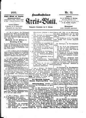Frankensteiner Kreisblatt vom 11.02.1893