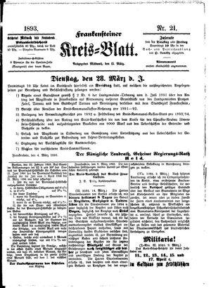 Frankensteiner Kreisblatt vom 15.03.1893