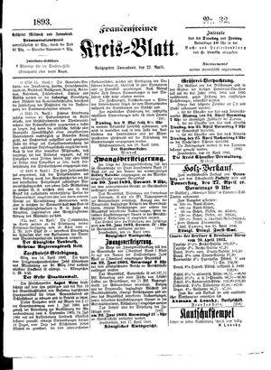 Frankensteiner Kreisblatt vom 22.04.1893