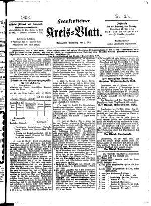 Frankensteiner Kreisblatt vom 03.05.1893