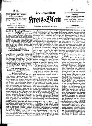 Frankensteiner Kreisblatt vom 21.06.1893