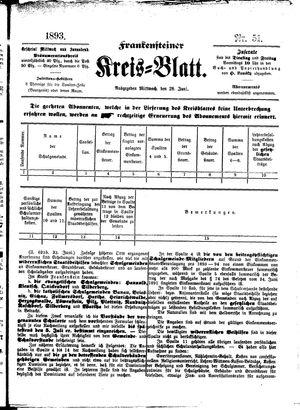 Frankensteiner Kreisblatt vom 28.06.1893