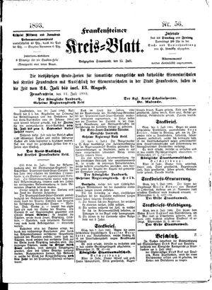 Frankensteiner Kreisblatt vom 15.07.1893