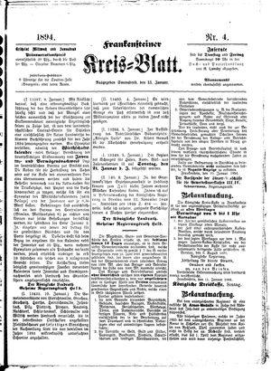 Frankensteiner Kreisblatt vom 13.01.1894