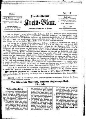 Frankensteiner Kreisblatt vom 14.02.1894