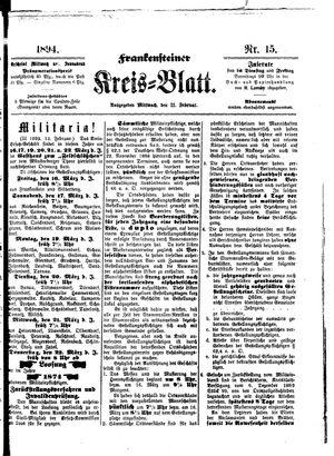 Frankensteiner Kreisblatt vom 21.02.1894