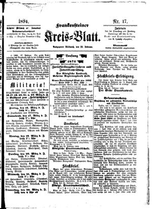 Frankensteiner Kreisblatt vom 28.02.1894
